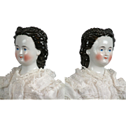 """Exceedingly Rare 25"""" Antique China Lady with Lace Front Snood in White Summer Gown by Conta Boehme"""