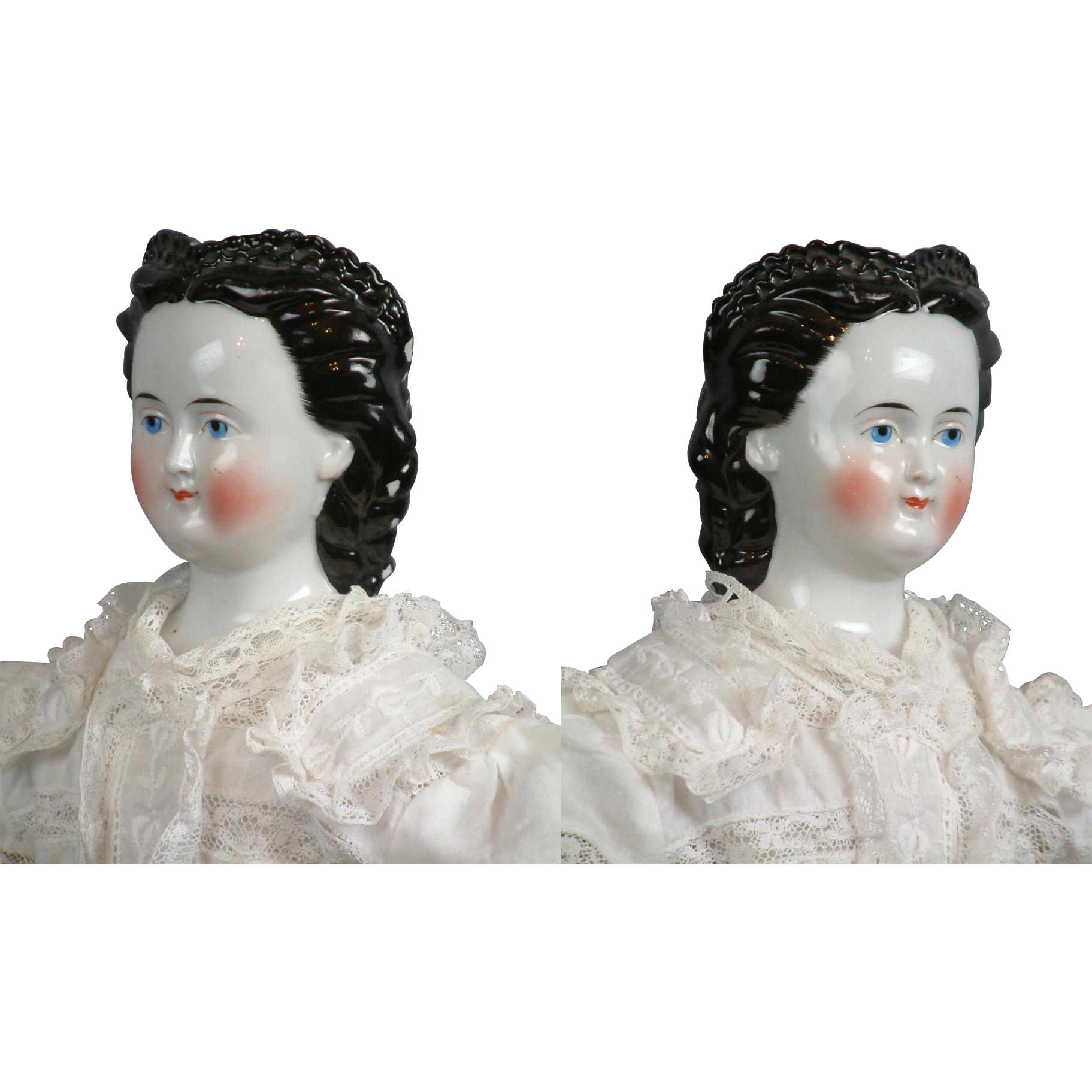 "Exceedingly Rare 25"" Antique China Lady with Lace Front Snood in White Summer Gown by Conta Boehme"