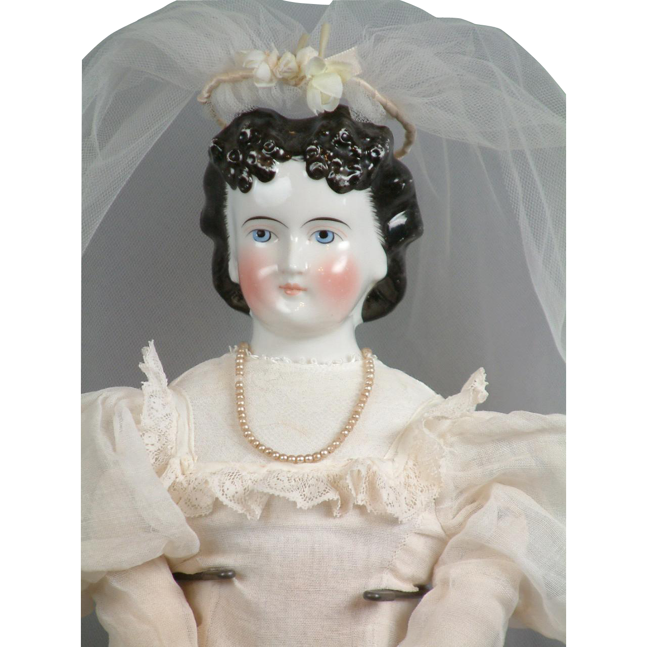 "21"" China Lady Doll With Immaculate Double Chignon on Original Body C. 1861 In Bridal Gown"