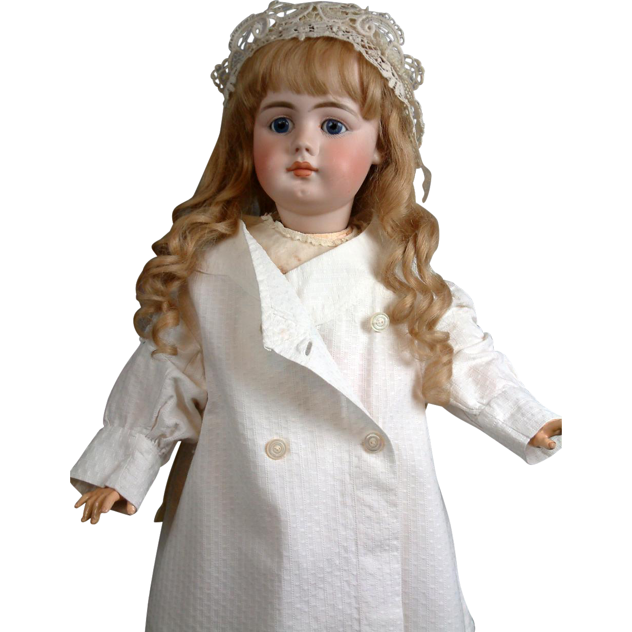 Quaint & Elegant Antique White Soft Cotton Pea Coat for the Best Big Bisque Girls -- Great for Simon & Halbig 949s!