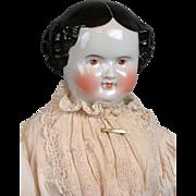 "Splendid 21"" 1860 China Lady by Kestner RARE Caramel Brown Eyes and Deep-Molded Curls!"