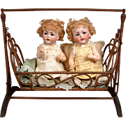 "Once In A Lifetime Pair of 19"" JDK 257 Character Twins with Flirty Eyes and Working Criers In Wound Wicker Cradle"