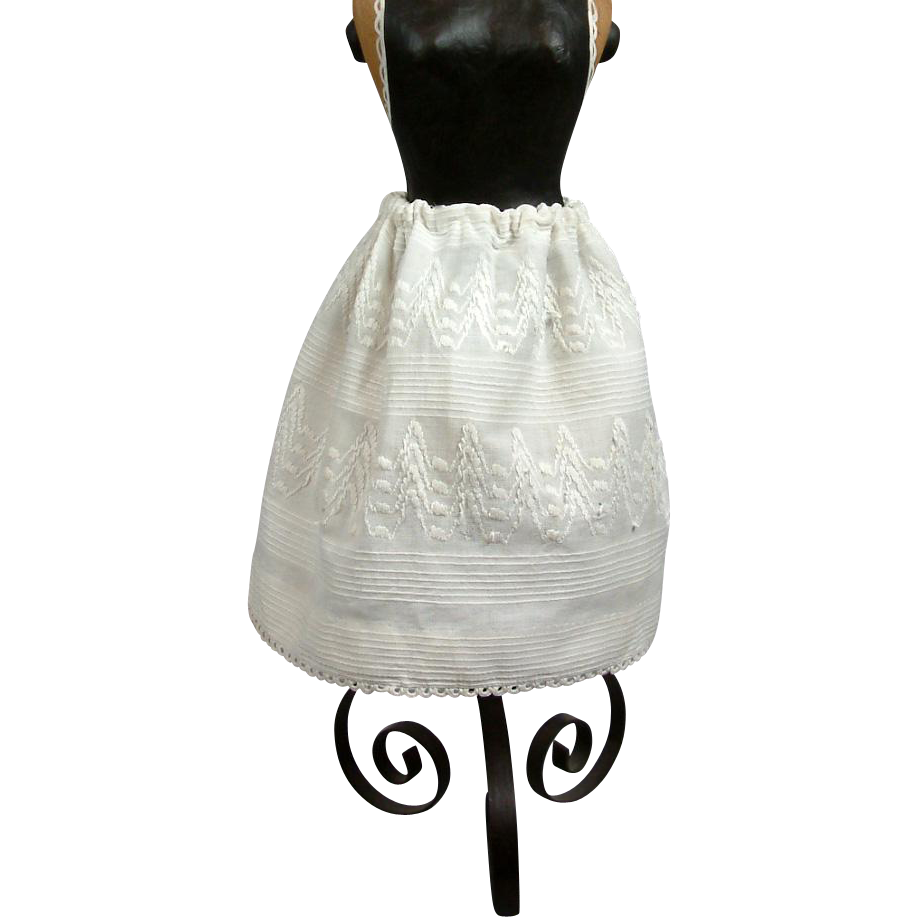 Singular 1830's Folk Art Half Slip For Early Wax Or Papier Mache Dolls