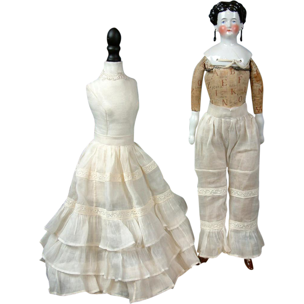Precious Thin Lawn Matched Pantaloon & Half Slip Set C. 1880 Bustle Era For French Fashion Poupee