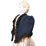 Tailored Opera Cape C. 1860 With Black Silk Fringe Trim In Rare Large Size