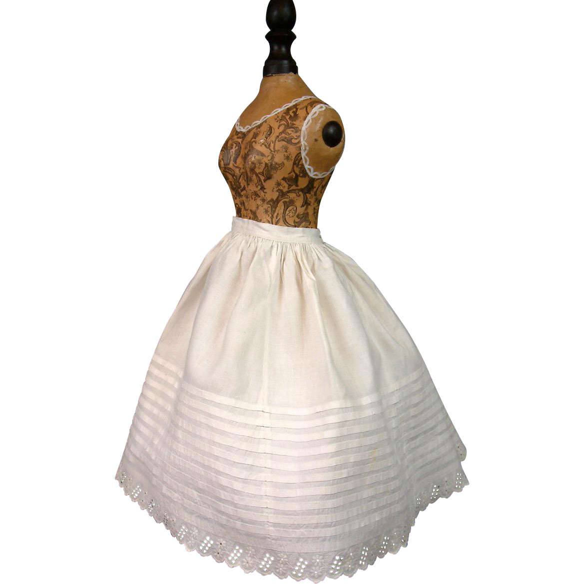 Stunning c.1880 China or Fashion Lady Half Slip With Flouncing Ruffle!