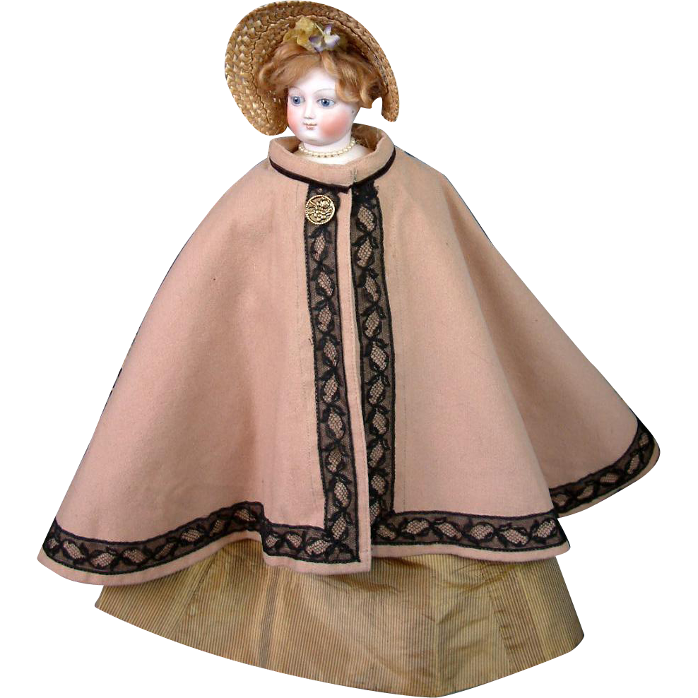 Superb Riding Cape in Camel Wool and Black Lace for French Fashion Lady