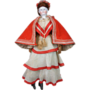 Fashionable Crimson Wool & Silk Red Hooded Cape Presentation Piece For Huret Poupee With Soutache Edging!