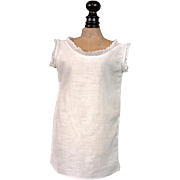 Lovely Antique White Organdy Chemise Slip w/Delicate Lace Trimming c. Early 1870s