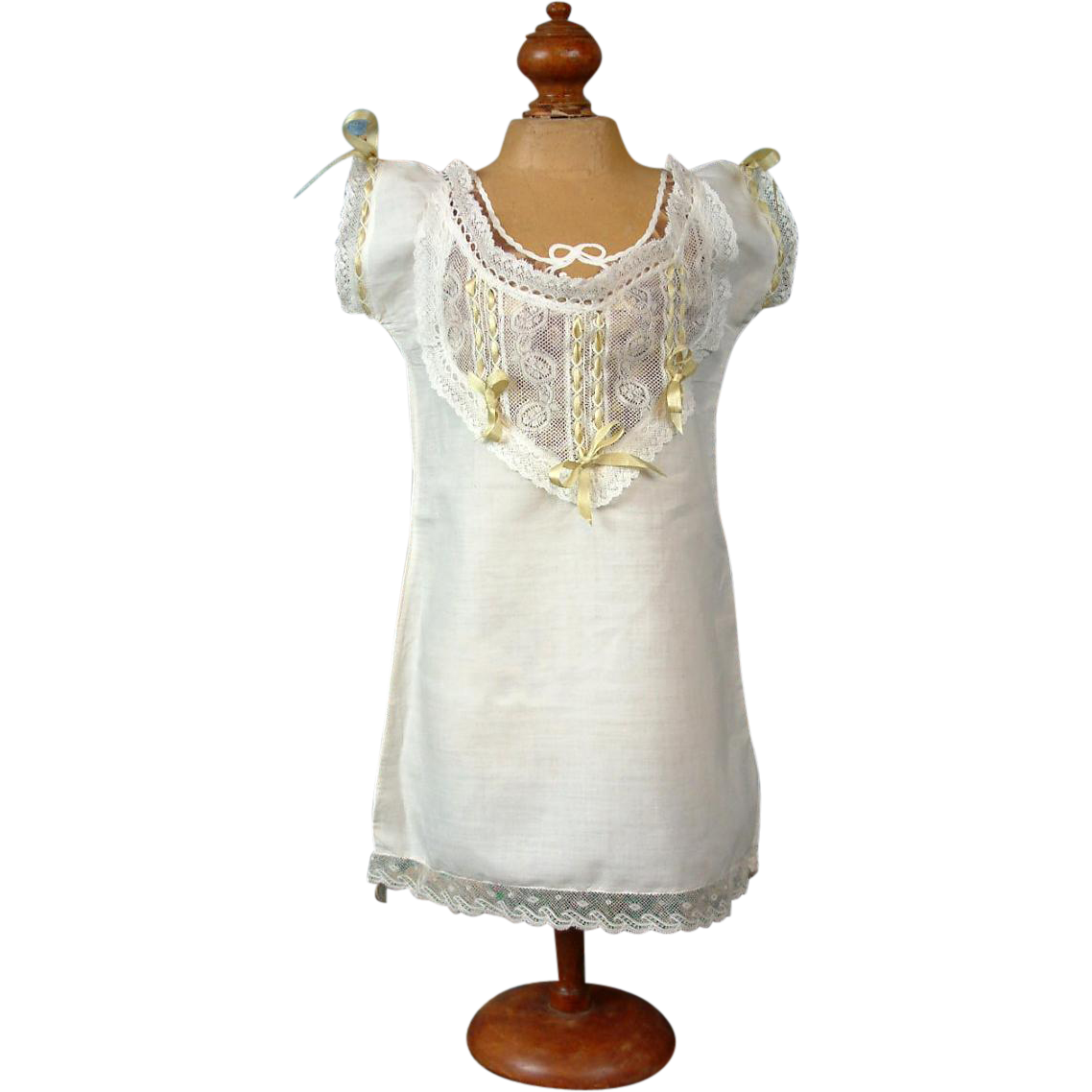 Extraordinary Antique Cotton Chemise c.1878-1882 w/ Exquisite Lace Front & Sage Insertion Ribbon for the Best Early Bebes!