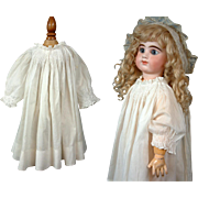 Wonderful Antique White Cotton Bebe Full Slip c.1885 w/Extraordinary Smocking & Silky-Smooth Cotton