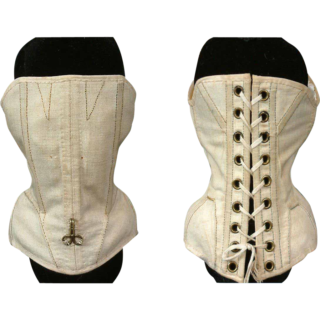 Rare C. 1870 ~Parisienne~ Poupee Corset with Exquisite Structured Boning and 18 Grommets