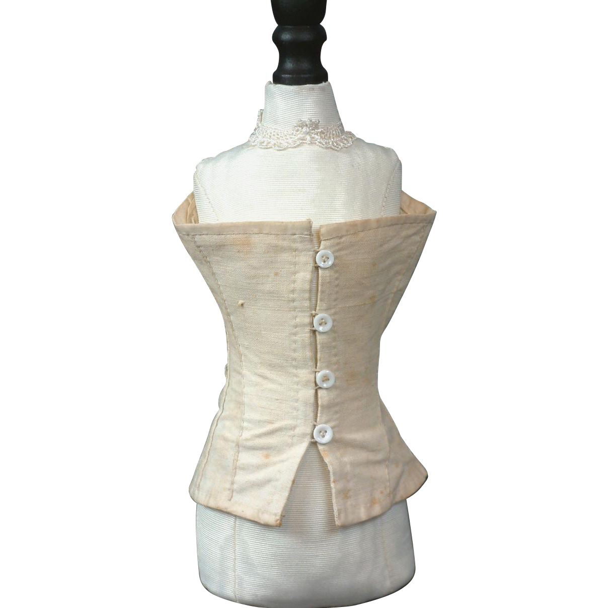Wonderful Rare Button Closure Corset with 12 Grommets For French Fashion Doll C. 1880