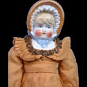 RARE Glazed Bisque Bonnet Head 100% ORIGINAL w/Fabulous Colors & Modeling, & Fashionable ORIGINAL Antique Costume c.1890