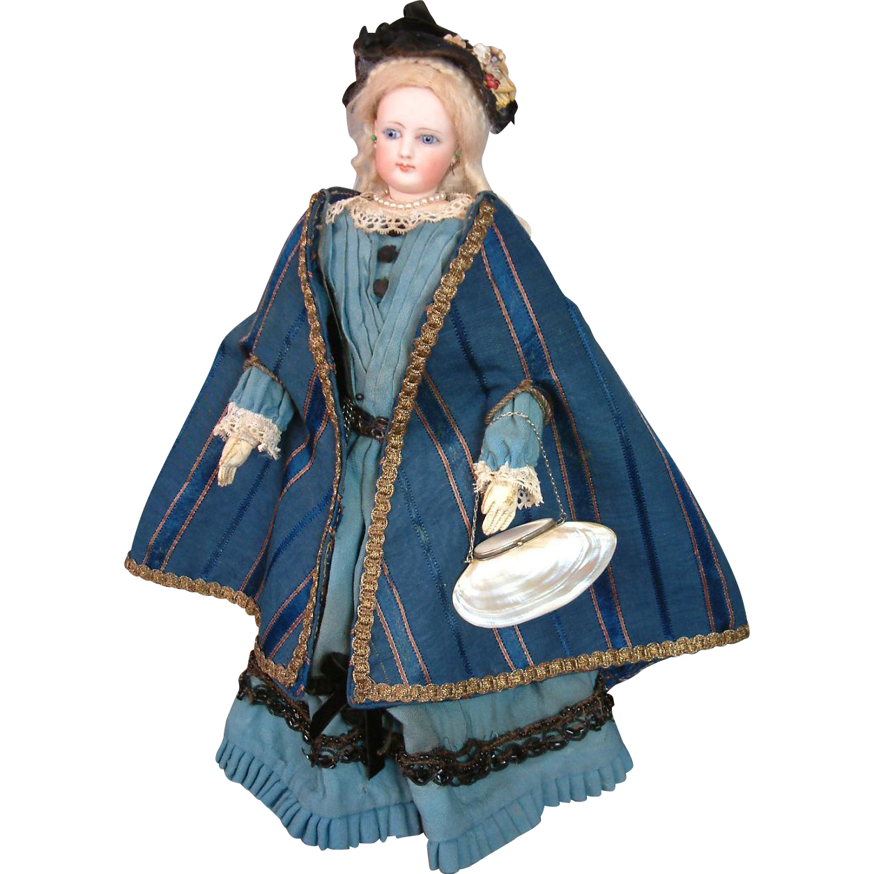 Delightfully Unique Silk and Cotton Royal Blue Cape With Arm Openings For French Fashion Doll C.1878