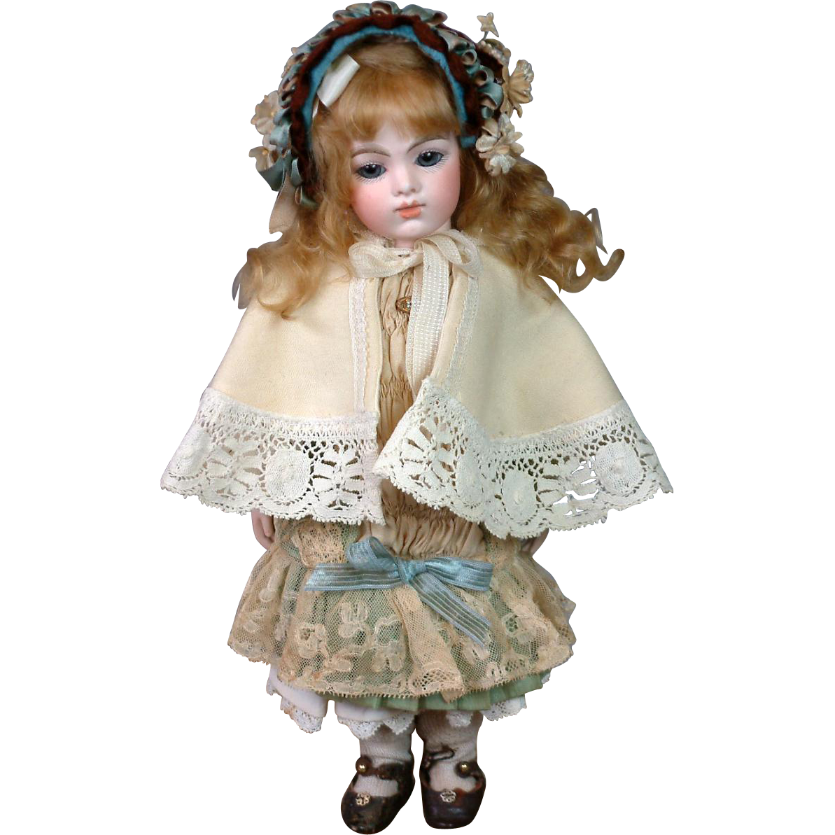 Darling Antique Ecru Wool Capelet w/Handmade Lace Trim c.1885 for Little Bebe or Fashion Doll!