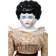 """Uncommon 17.5"""" China Doll with Parted Lips and Square Cut Teeth c.1885~All Original!"""