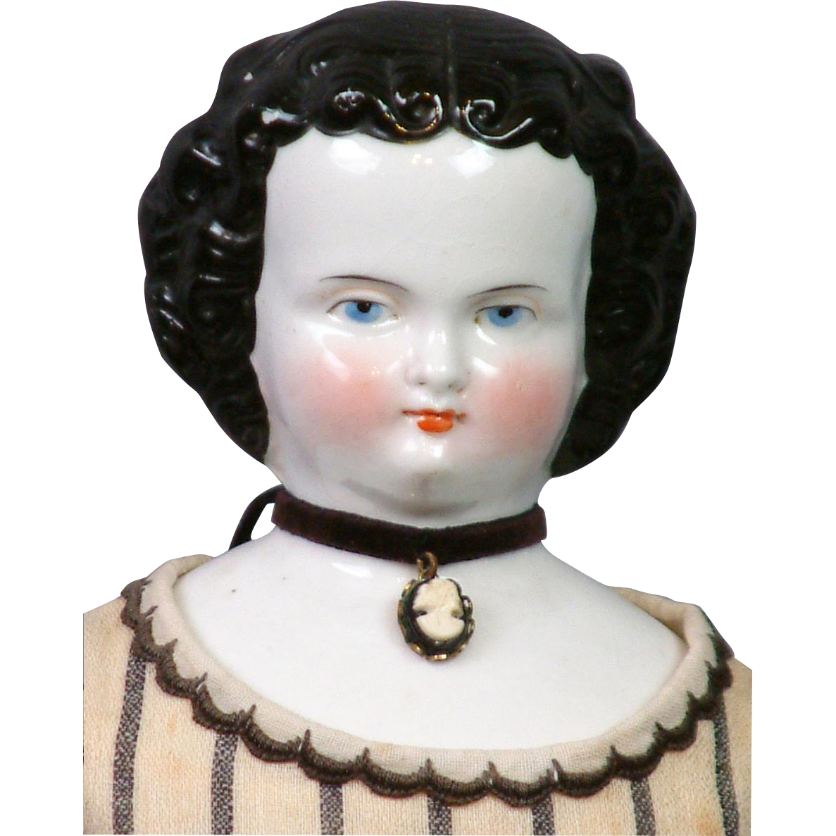 """Superb All Original 16"""" Antique China Lady In Rich Wool Striped Dress"""