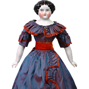 """Ethereal 14.5"""" Antique China Lady In Singular Presentation Silk Costume Hiding a Fabulous Corset!"""