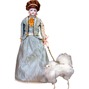 "Fluffy Petite Fashion Doll Dog of 5"" with Rare attached Metal Leash"