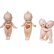 Collector's Choice -- Antique Kewpie Lot c.1913, 2 Standing & One Hugger Pair by Rose O'Neill w/Shield Labels and Signature Mark -- EXCELLENT Choice!
