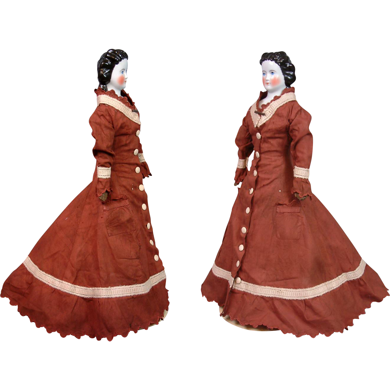 "Stupendous 22"" Conta & Boehme China Lady Featuring Rare Snood With Comb And Corseted Goldsmith Body C. 1875"