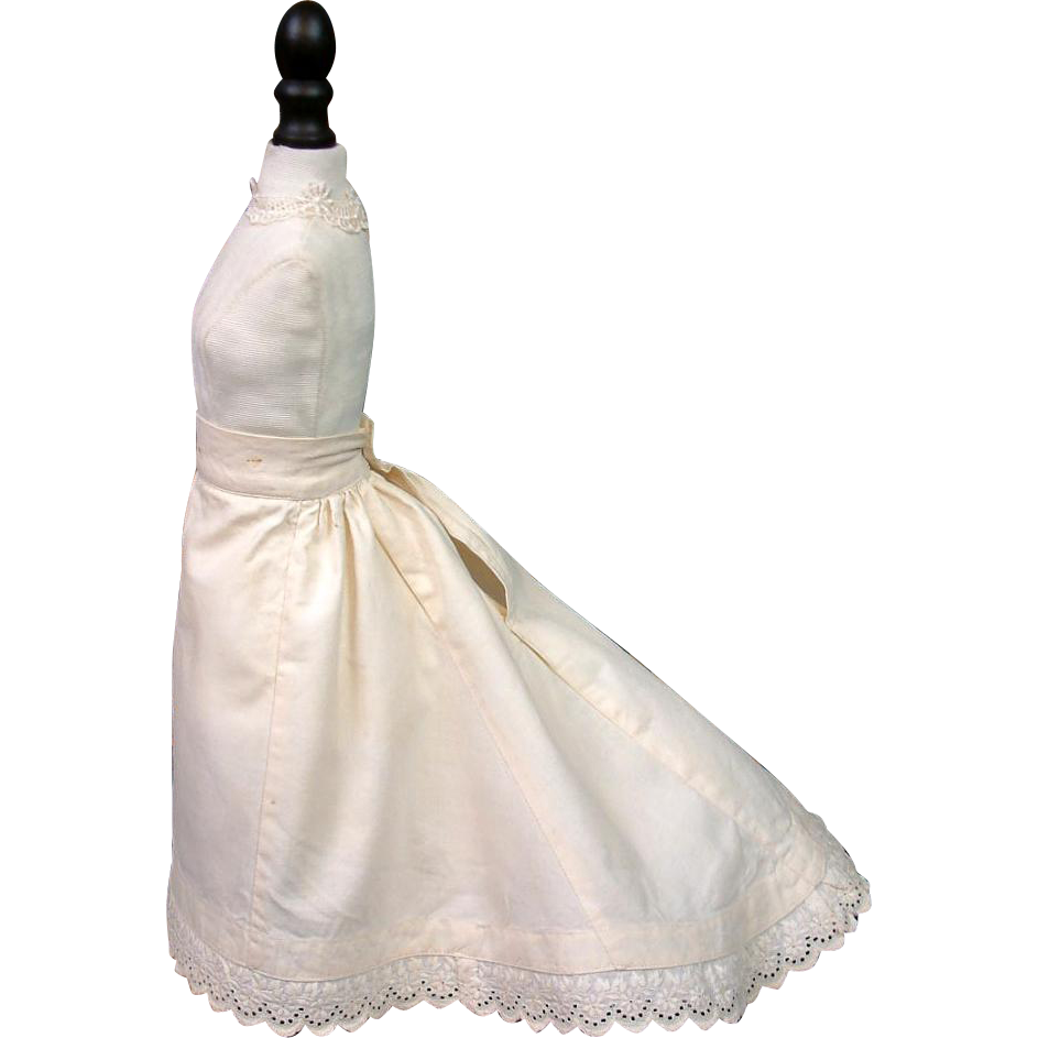 One of A Kind Victorian Pre-Bustle Era Trained Half Slip With Hand Embroidered Double Scalloped Hem Of the Napoleon III Huret Era