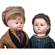 Incredible Early Papier Mache Couple C. 1835-45 ~All Original Frenchman And Glass Eyed Snood Hair Lady