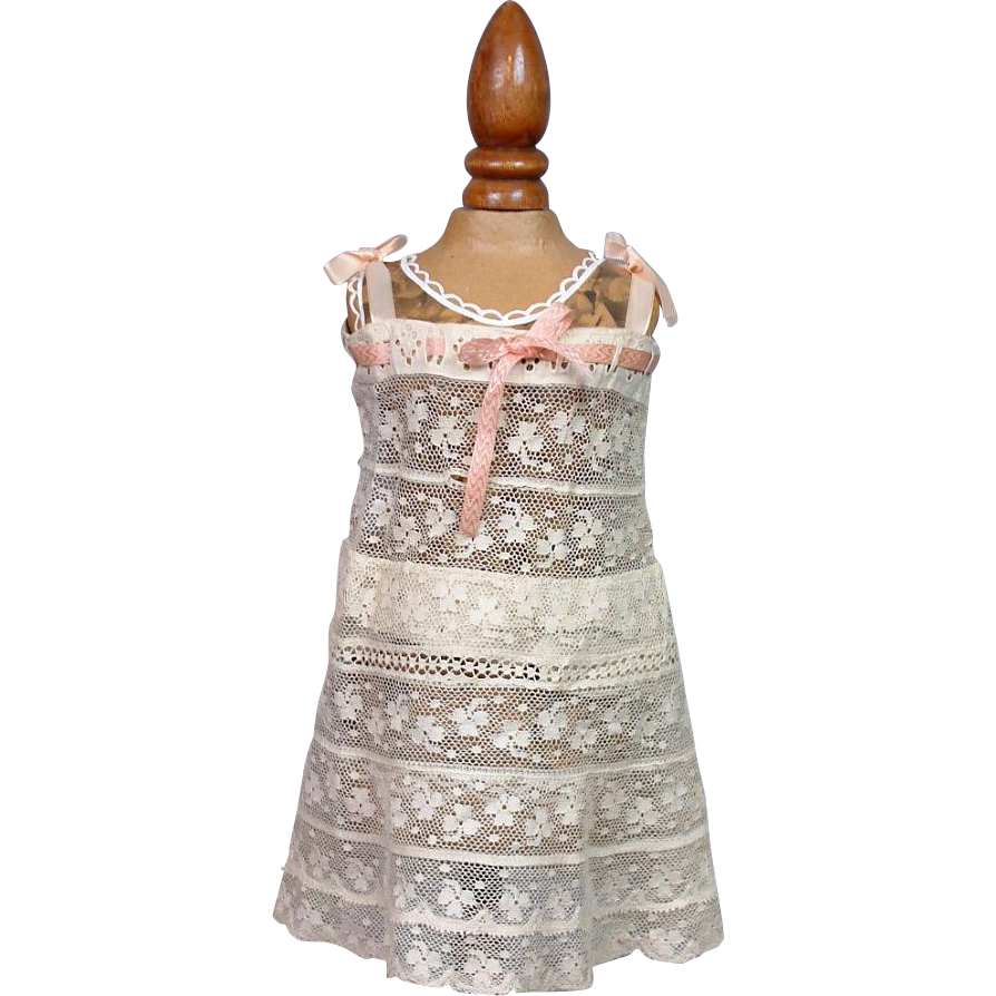 Lovely Antique 100% Lace Full Slip w/Rose Insertion Ribbon & Handmade Construction -- Exquisite!