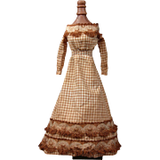 Extremely Rare Civil War Era Gingham Ballgown For China or Fashion Doll With Original Slip