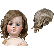 Beautiful Antique Golden Blond Hand-Tied Mohair Wig w/Beautiful Crisp Curls -- Collector's Choice