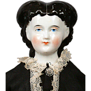 "Gorgeous Dark & Beautiful 17"" Antique China Lady w/Uncommon Wrapped Dutch Braid Hairstyle"