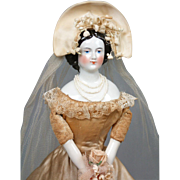 "Blushing 15.5"" Antique Jenny Lind China Lady 100% Original Antique Bridal Costume w/Genuine Pearl Necklace"