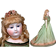 "29"" Bisque Arm Fashion Doll By Eugene Barrois~Cobalt Eyes TWO COSTUMES C. 1862 ~Layaway Available~"