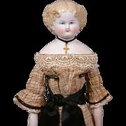 "RARE Antique China/Parian Lady Beauty 17"" w/Original Costume and Gorgeous Presentation"