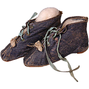 Museum Quality Early C. 1850 Doll Shoes with Nailed in Heels and Original Ribbons