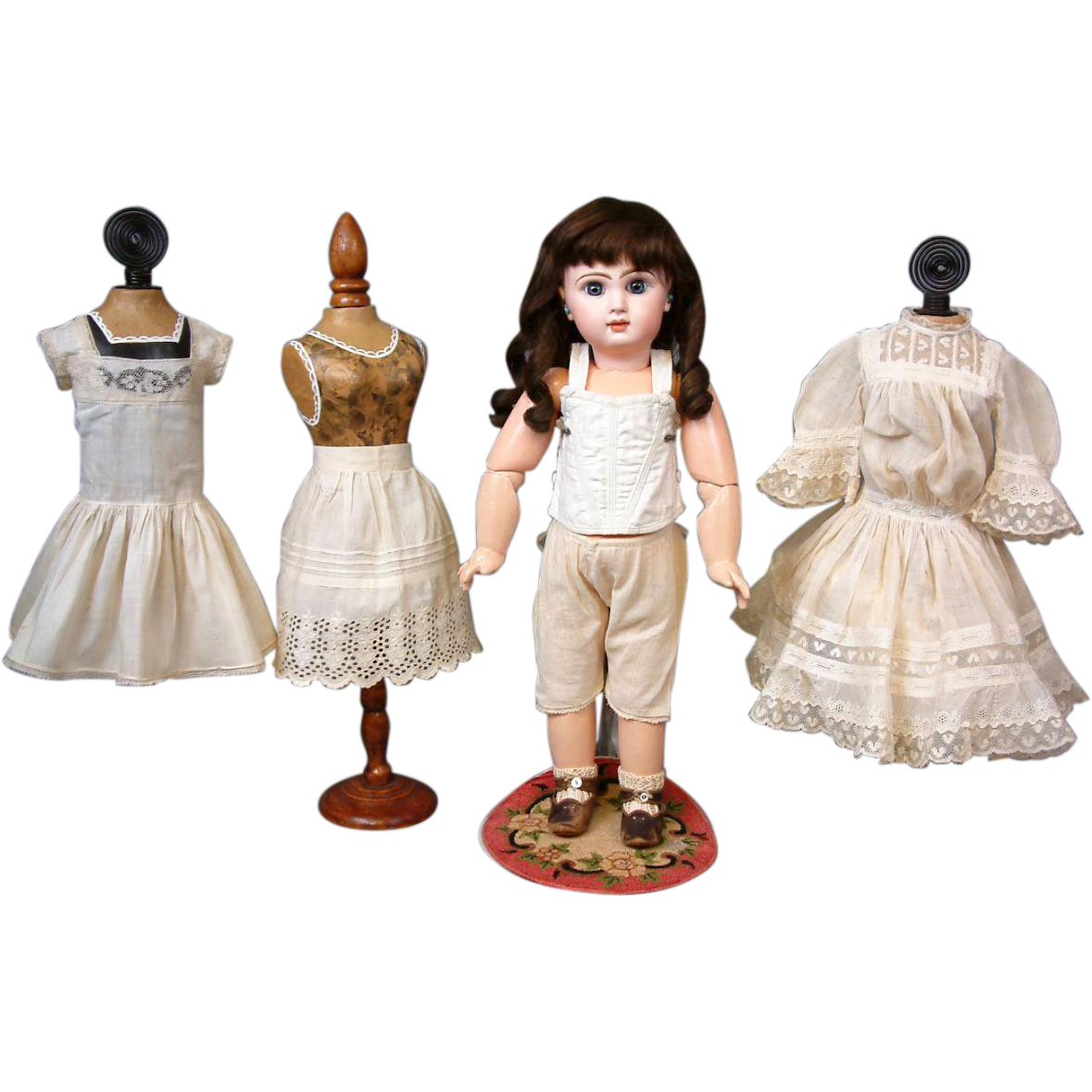 5-Piece Antique Original Bebe Costume w/Dress, 2 Slips, Corset, and Pantaloons FABULOUS CONDITION!