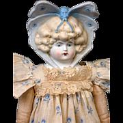 """RARE Butterfly Bonnet 15.5"""" Antique Parian Bisque Lady with DESIRABLE Molded Bonnet Ribbon FABULOUS"""