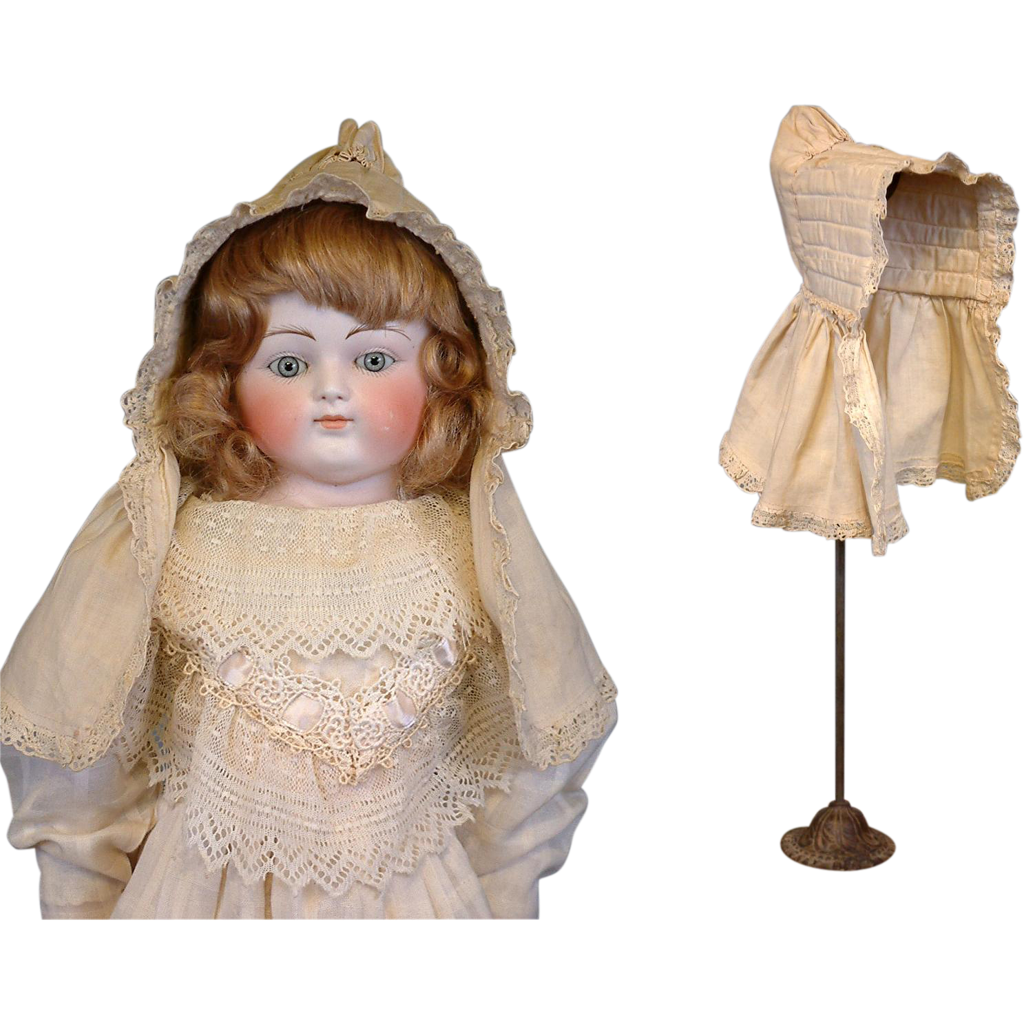 Lovely Cream Cotton Antique Christening Bonnet c.1850