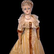 """Singular 26"""" German Reinforced Wax Fashion Doll C. 1858-62 In Original Silk Gown"""