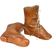 Gorgeous French Poupee Antique Genuine Leather Boots -- Excellent For Fashion or China Ladies!