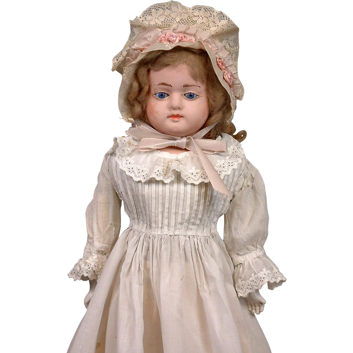Exquisite c.1890 Early Antique Papier Mache German Girl w/Original Wig & Body, in Adorable Antique Costume WOW!