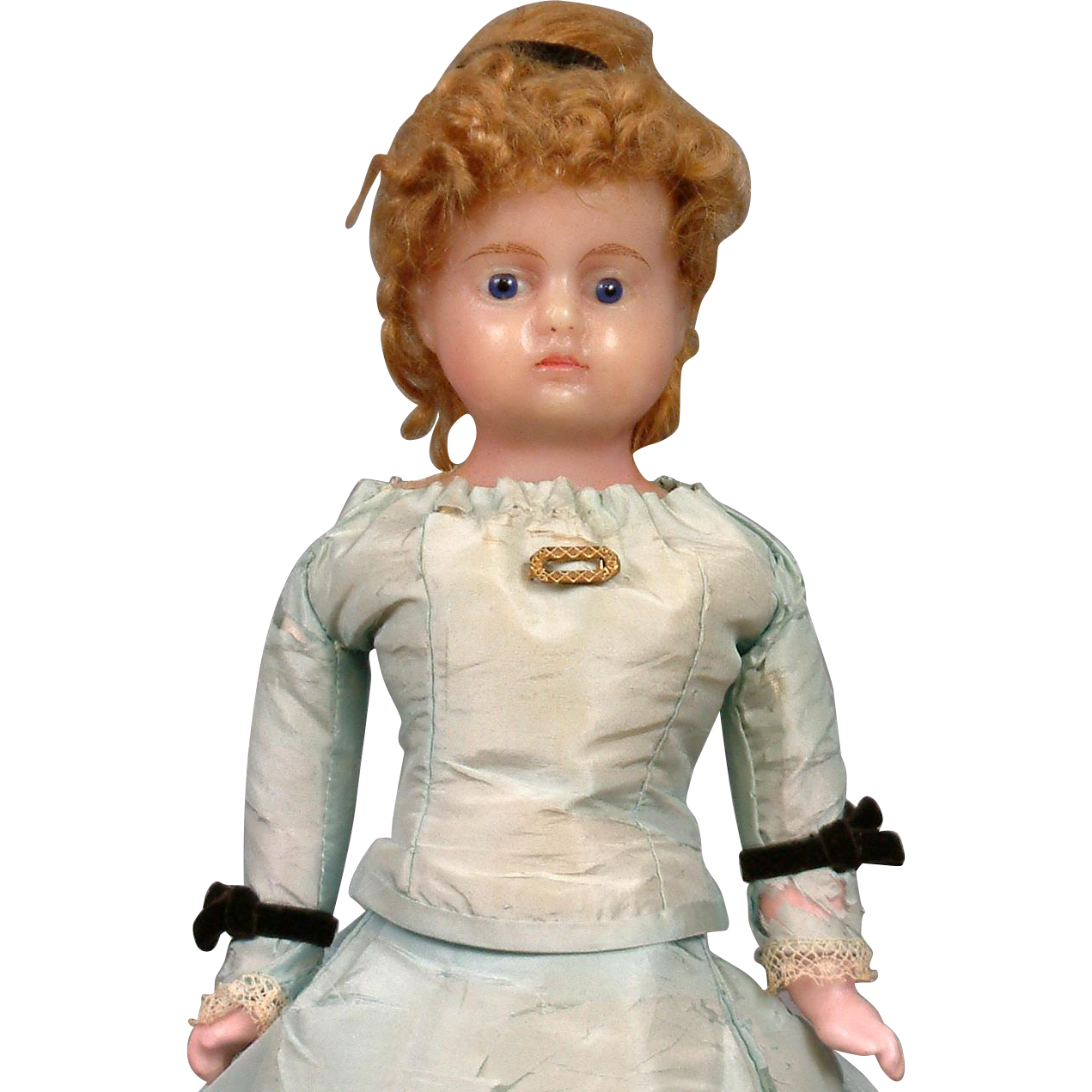 "Delicious 14"" Wax Doll With Glass Eyes In Original Powder Blue Silk Costume C. 1870"
