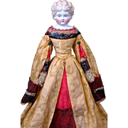 "One of A Kind 19"" German Parian Lady in Magnificent Original Theatrical Golden Silk Brocade Costume (Lady MacBeth?) attributed to AW Kister of Thuringia Germany"