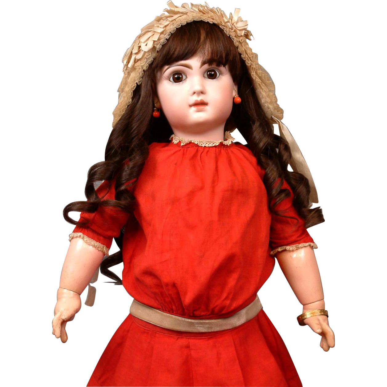 "Holly Berry Red Antique Jumeau Dress C. 1890 For Size 11 Bebe (24"")"