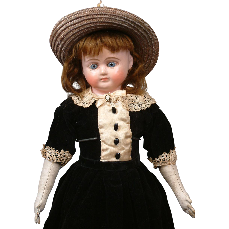 "Spectacular 19.5"" Antique Wax over Papier Mache Doll w/FABULOUS Original Condition Body"