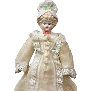 "Darling Petite 10"" Antique Parian Bonnet Head Girl in Cute Antique Lacy Costume & Underwear"