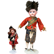 Pair of 100% Original German Antique Bisque Dolls AM 390 & Goebel in Scottish Costumes - Red Tag Sale Item