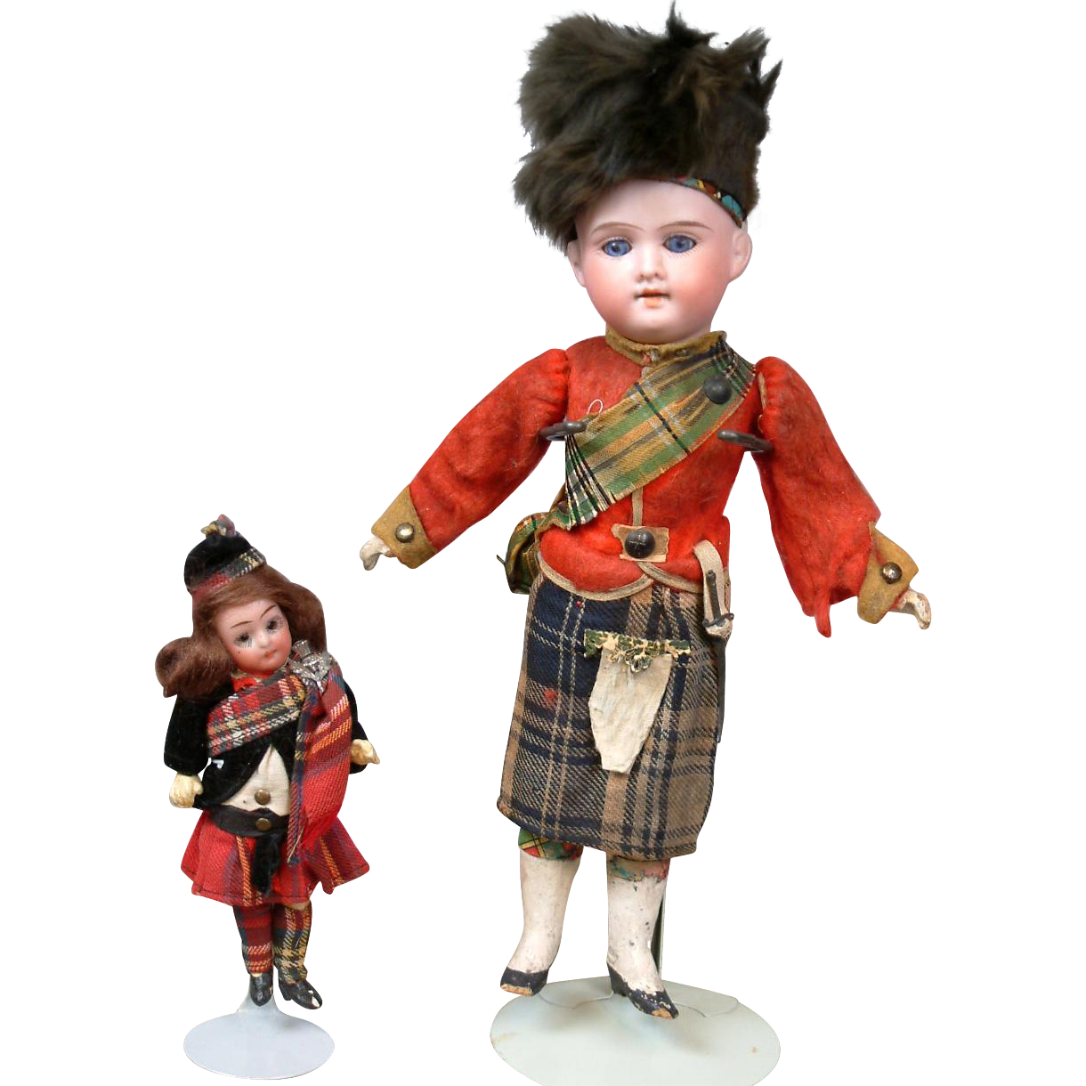 Pair of 100% Original German Antique Bisque Dolls AM 390 & Goebel in Scottish Costumes