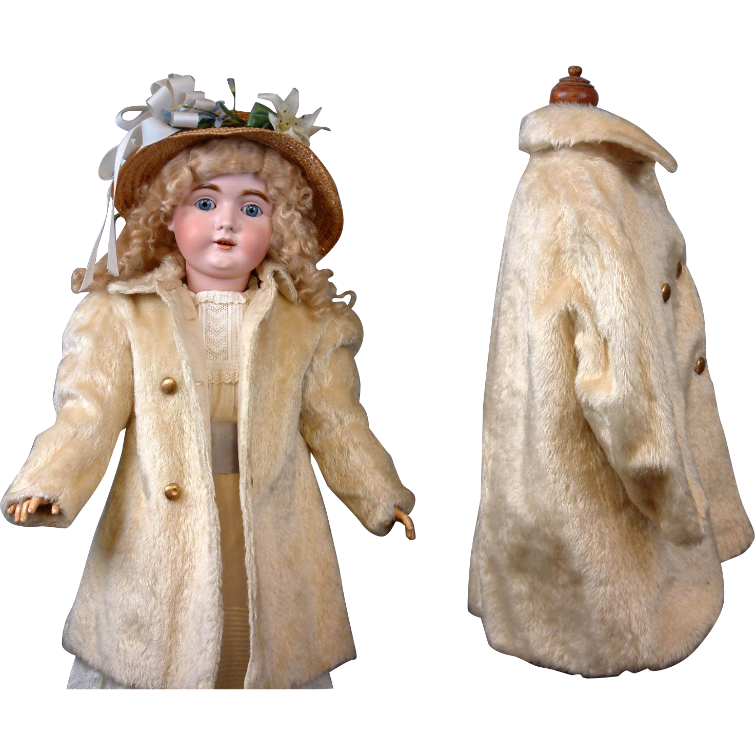 Gorgeous Antique Mohair Double Breasted Coat c.1905 Large Size for Your Prized Bebes!